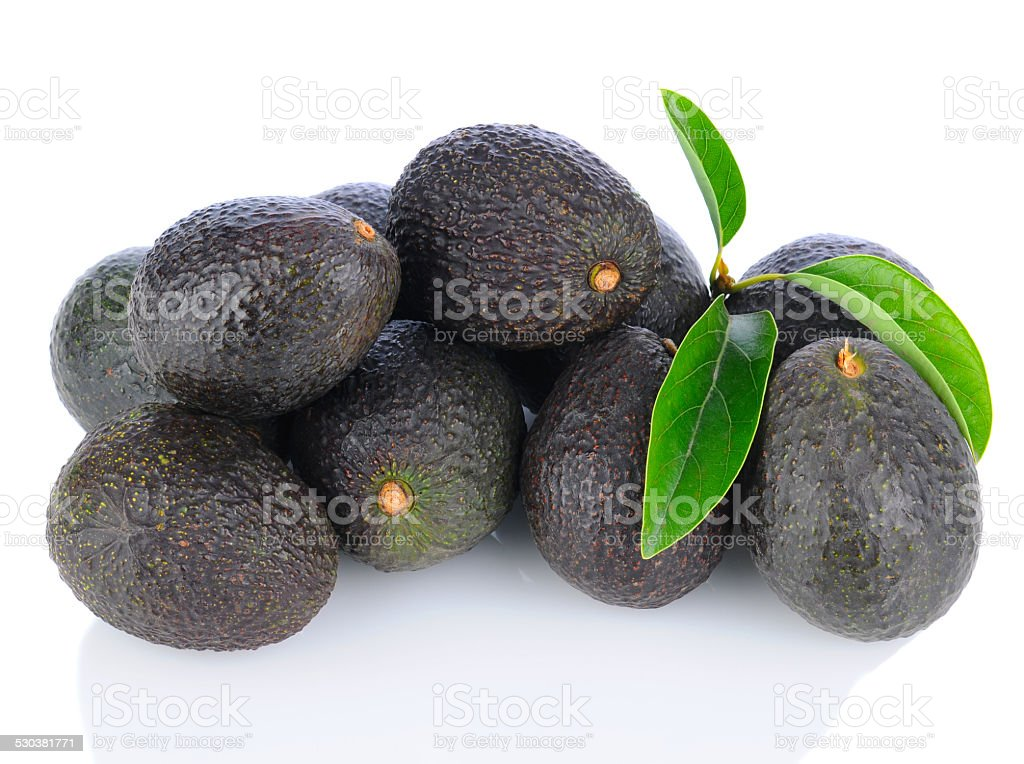 Pile of Hass Avocados stock photo