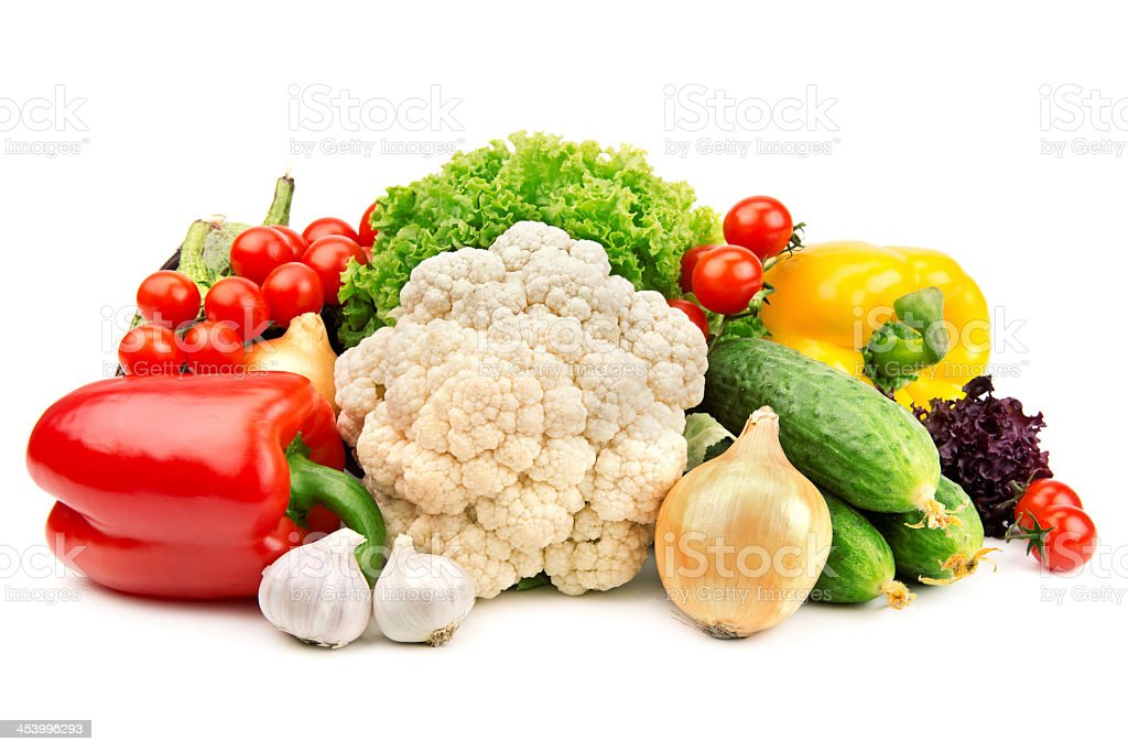 A pile of healthy vegetables on white stock photo