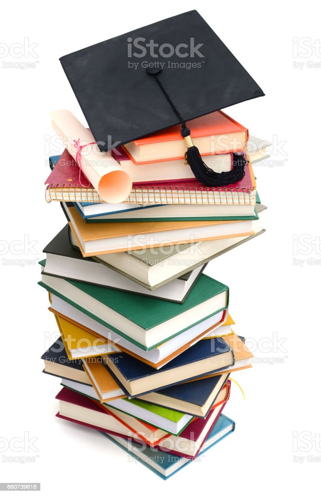 pile of homework textbooks stock photo