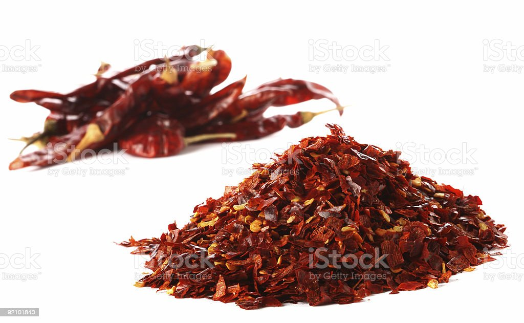 pile of Hot Red Chilli Chillies pepper dried and crushed royalty-free stock photo