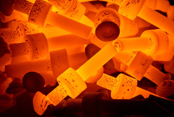pile of hot steel parts stock photo