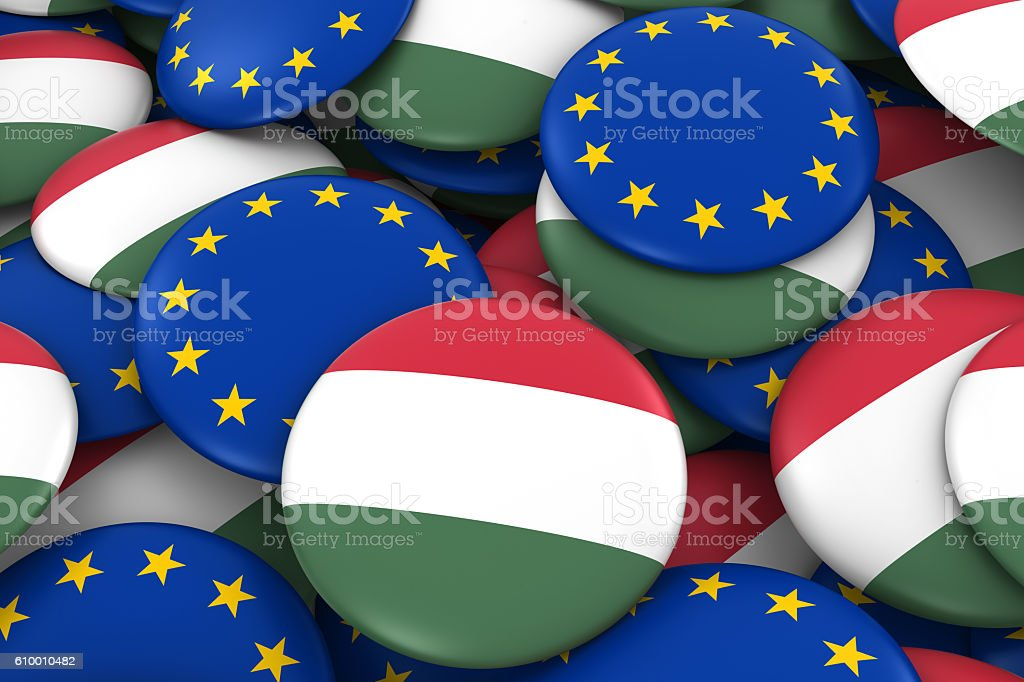 Pile of Hungarian and European Flag Buttons 3D Illustration stock photo