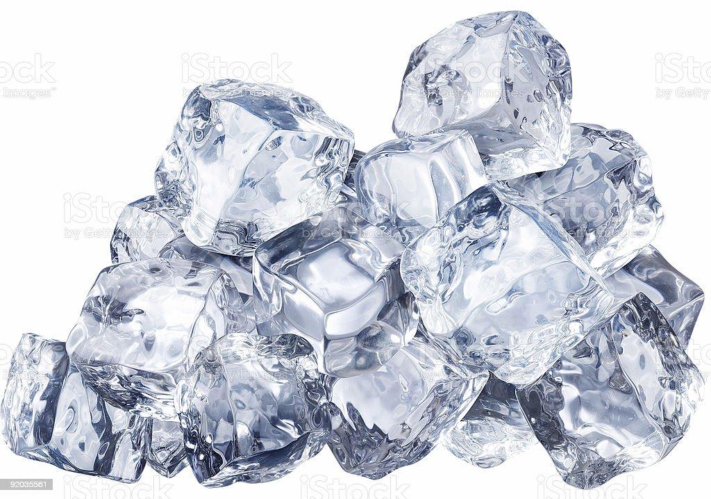 Pile of ice blocks with white background stock photo