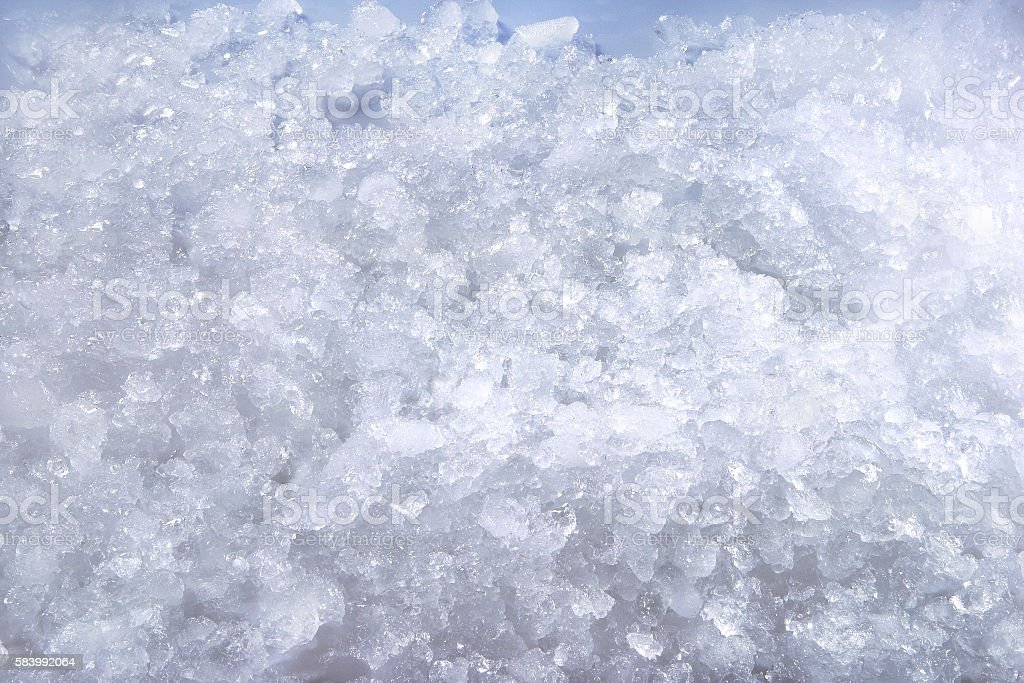 Pile of ice grated into small pieces stock photo