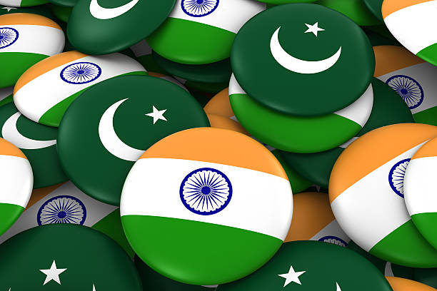 pile of indian and pakistani flag buttons 3d illustration - pakistani flag stock photos and pictures