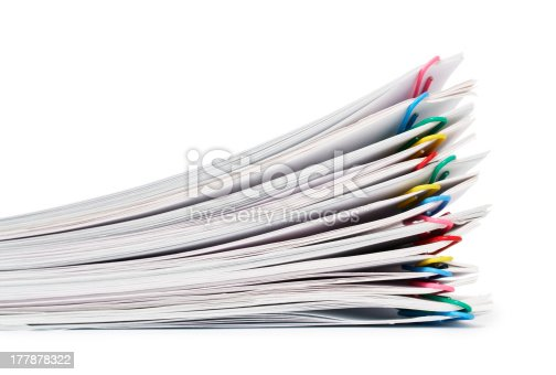 istock A pile of individually paper clipped documents 177878322