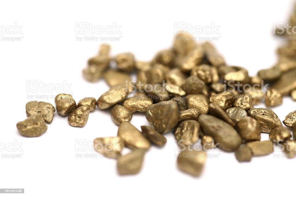 Pile of isolated gold nuggets royalty-free stock photo