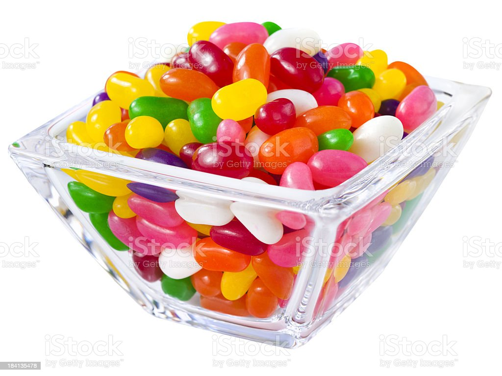 Pile of jelly beans in a candy bowl royalty-free stock photo