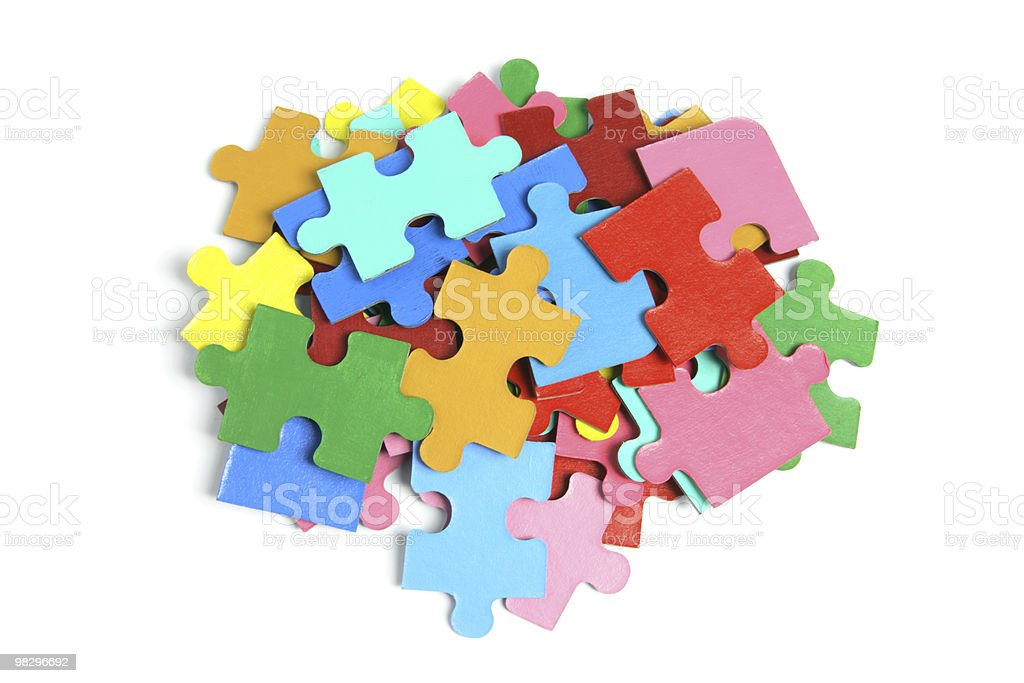Pile of Jigsaw Puzzle Pieces royalty-free stock photo