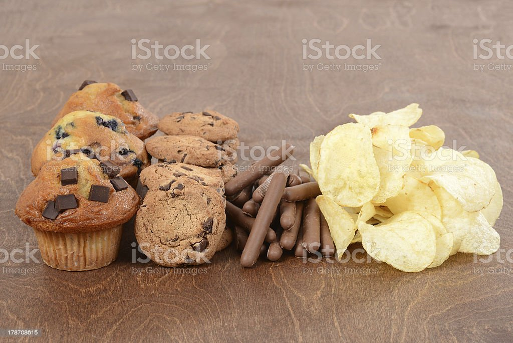 Pile of junk food stock photo