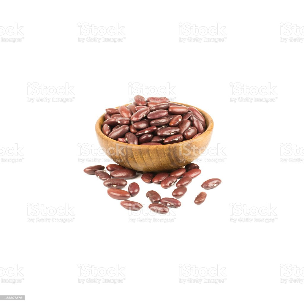Pile of Kidney Beans in bowl isolated on white stock photo