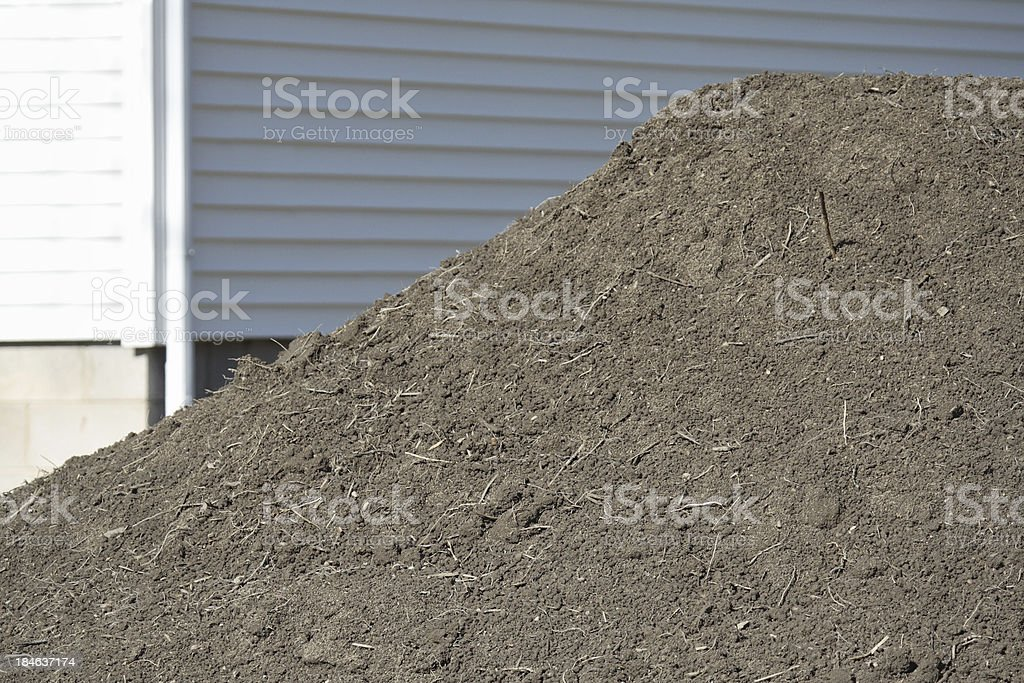 Pile of Landscaping Topsoil at Construction Site stock photo