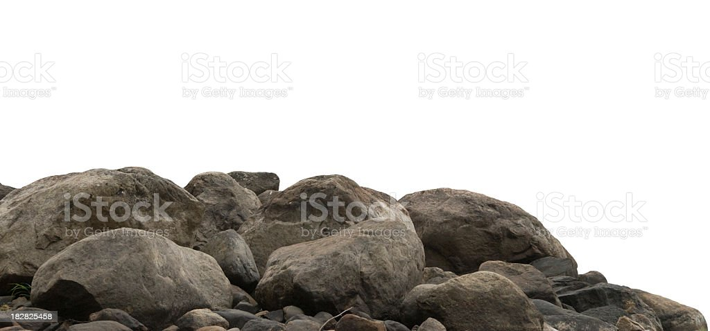 Pile of large stones against a white background stock photo