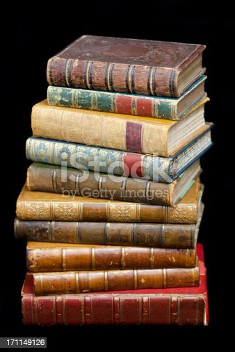 istock Pile of Leather Bound Antique Books 171149126
