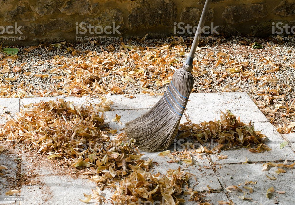 Pile of leaves with a broom being swept up – Foto