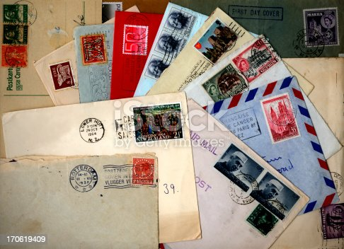 A pile of letters from diverse places.