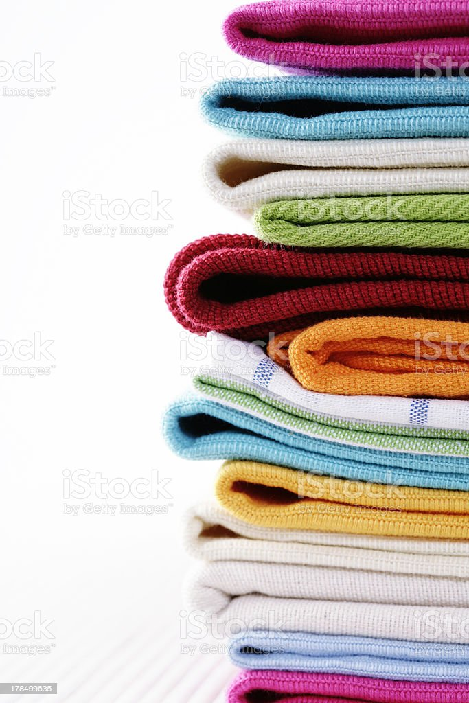 Pile of linen kitchen towels royalty-free stock photo