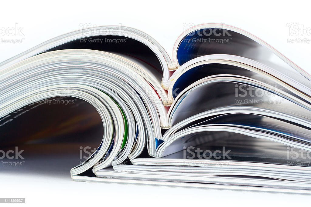 Pile of magazines stock photo