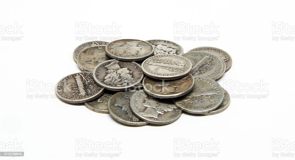 Pile of Mercury Dimes stock photo