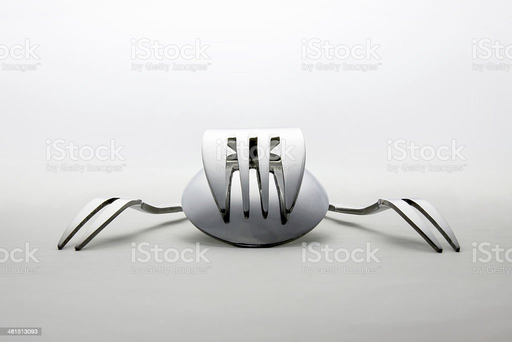 Pile of metal spoon and forks stock photo