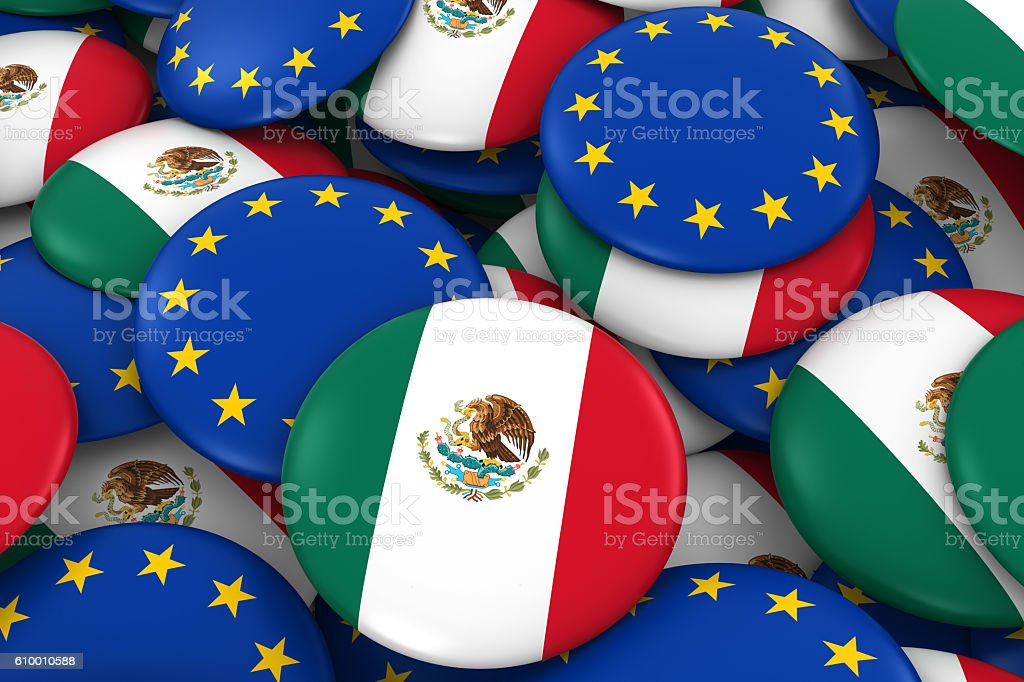 Pile of Mexican and European Flag Buttons 3D Illustration stock photo