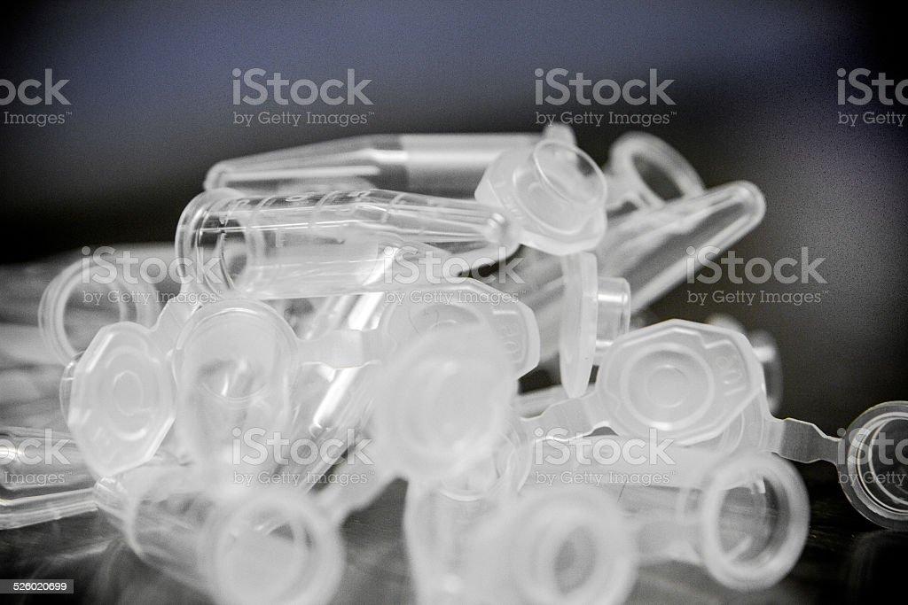 Pile of Microcentrifuge Tubes - Medical Plastic - Medical waste stock photo