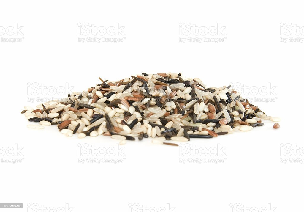 Pile of mixed rice on white royalty-free stock photo