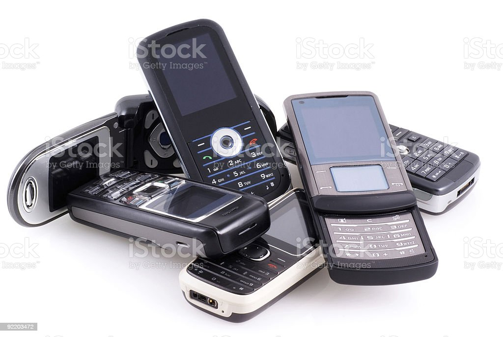 Pile of mobile phones. royalty-free stock photo