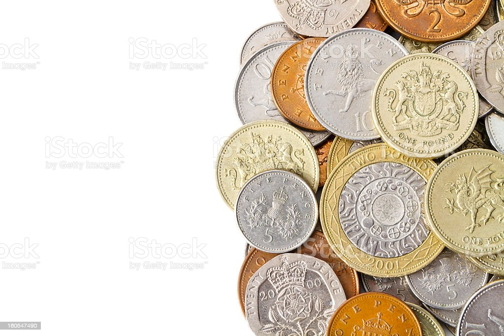 Pile of Modern British Coins with White Copy Space stock photo