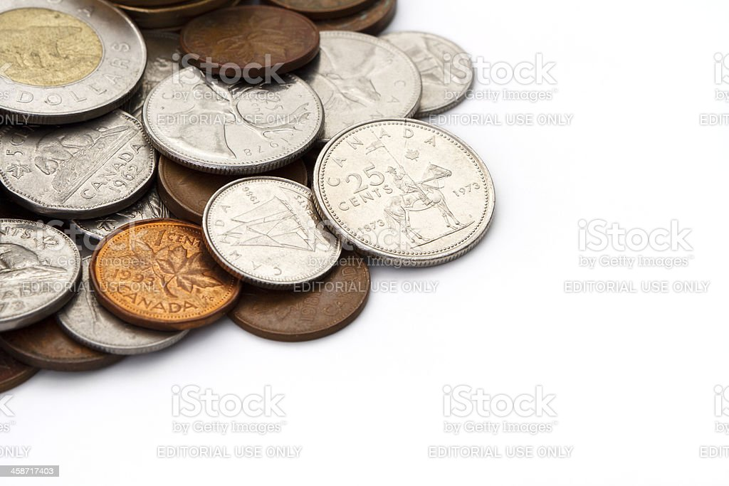 Pile of Modern Canadian Coins with Copy Space stock photo