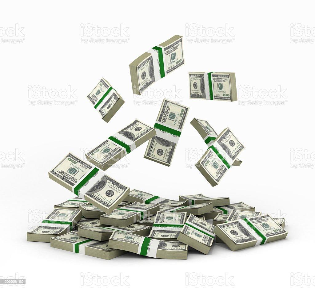 pile of money american dollar bills 3d render stock photo