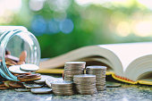 istock Pile of money coins in and outside the glass jar on blurred book and natural green background for financial and education concept 929940982