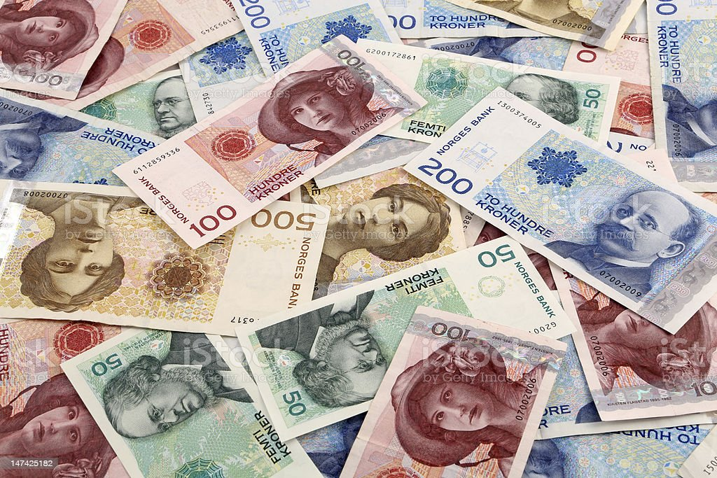 Pile of multicolored Norwegian money  stock photo