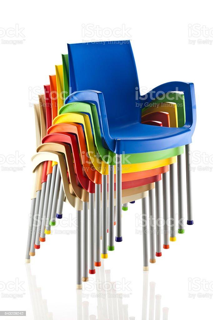 Sedie In Plastica Stock.Pila Di Sedie Di Plastica Multicolore Fotografie Stock E Altre