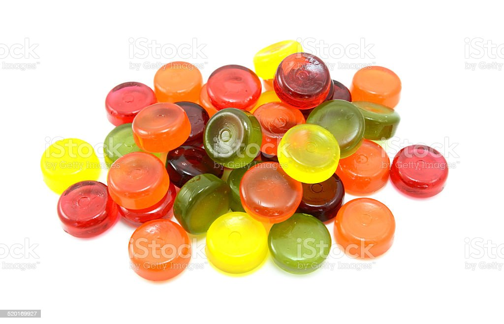 Pile of multi-coloured boiled sweets stock photo