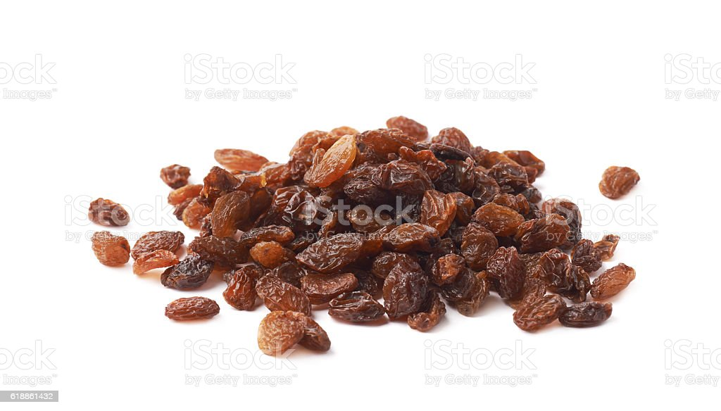 Pile of multiple raisins isolated stock photo