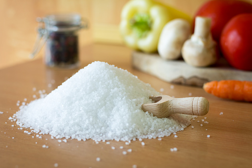 A pile of natural sea salt on the table