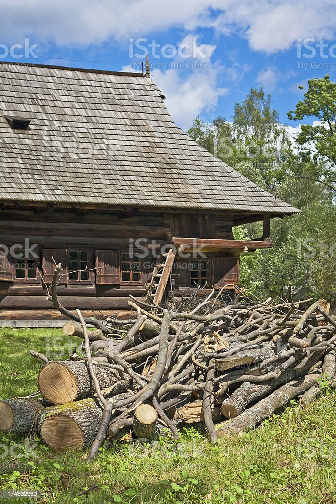 Pile of newly cut timber royalty-free stock photo