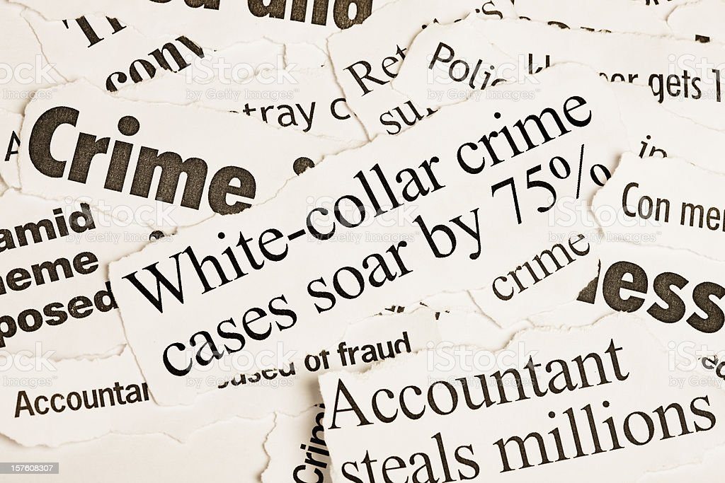 Pile of newspaper headlines about white collar crime stock photo