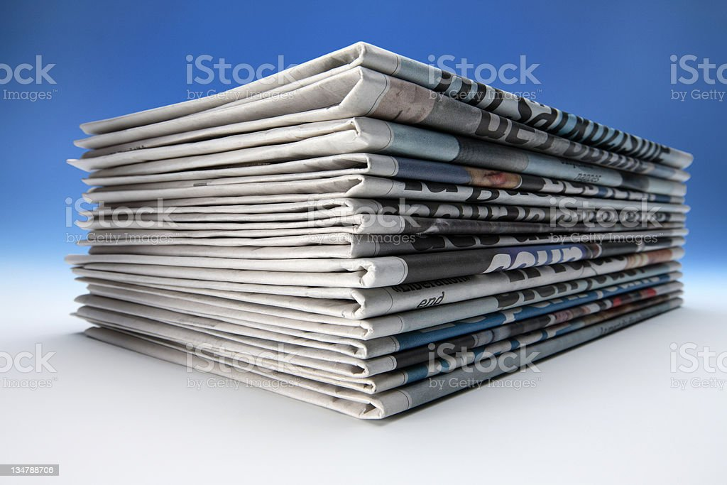 Pile of newspapers royalty-free stock photo
