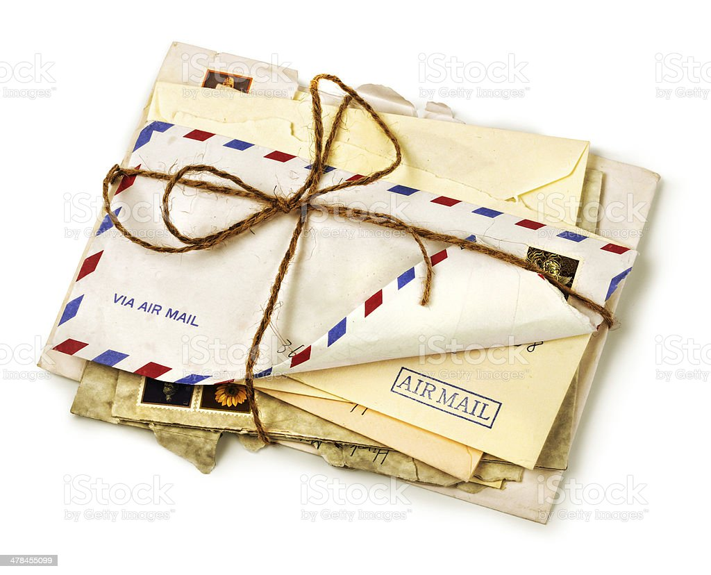 Pile of old airmail letters stock photo