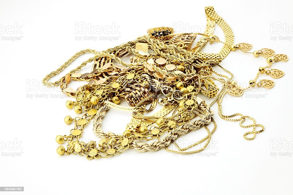 Pile of old jewelry stock photo