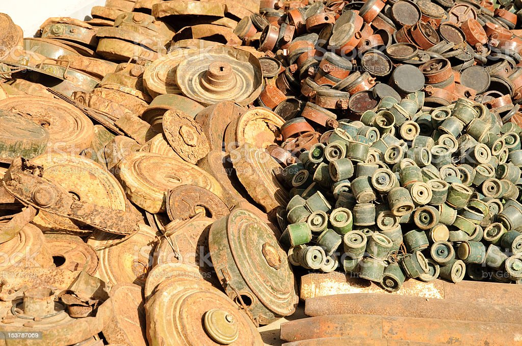 Pile of old Landmines stock photo