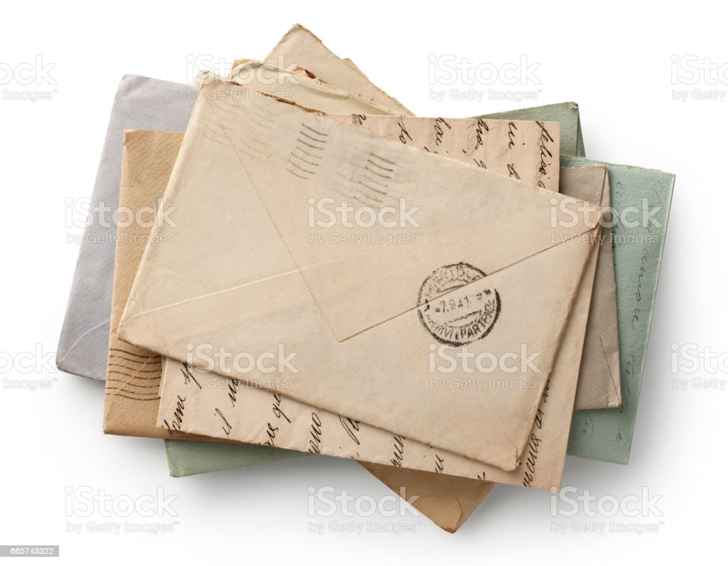 Pile of old letters isolated. Photo with clipping path. stock photo