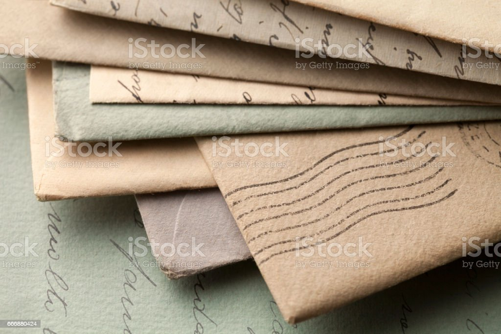 Pile of old letters with envelopes stock photo