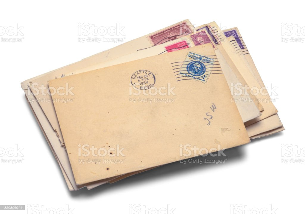 Pile of Old Mail stock photo