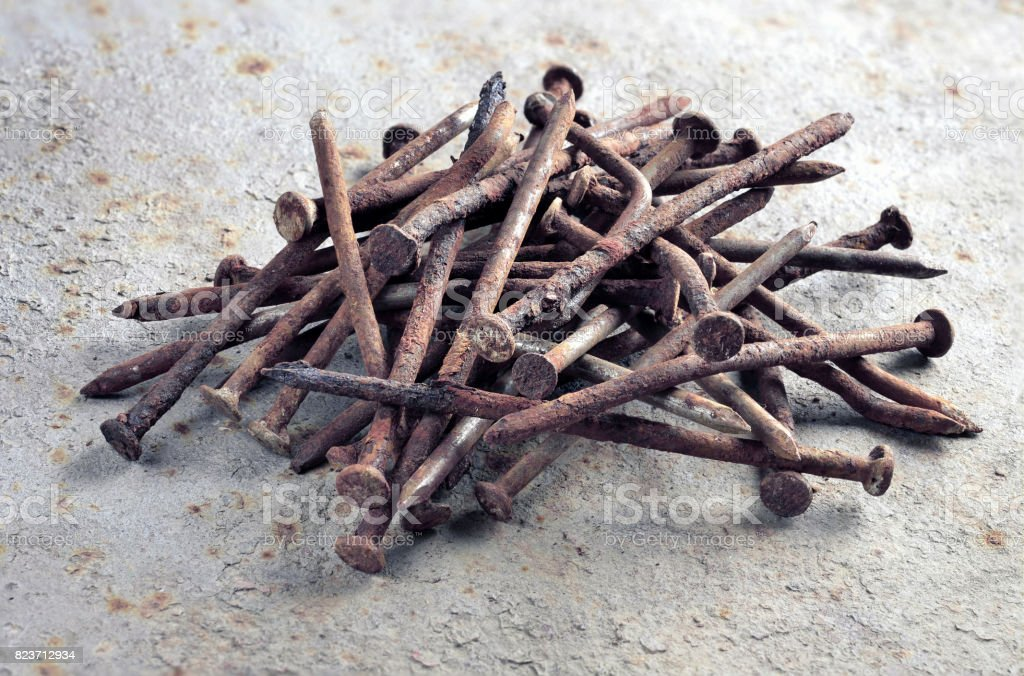 A pile of old nails stock photo