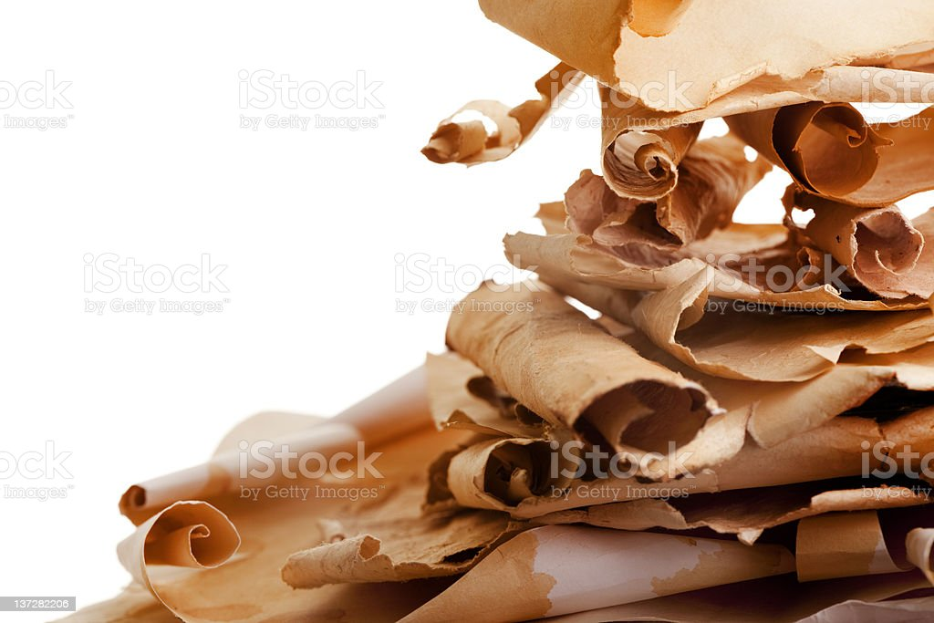 Pile of old paper scrolls with copy space. royalty-free stock photo