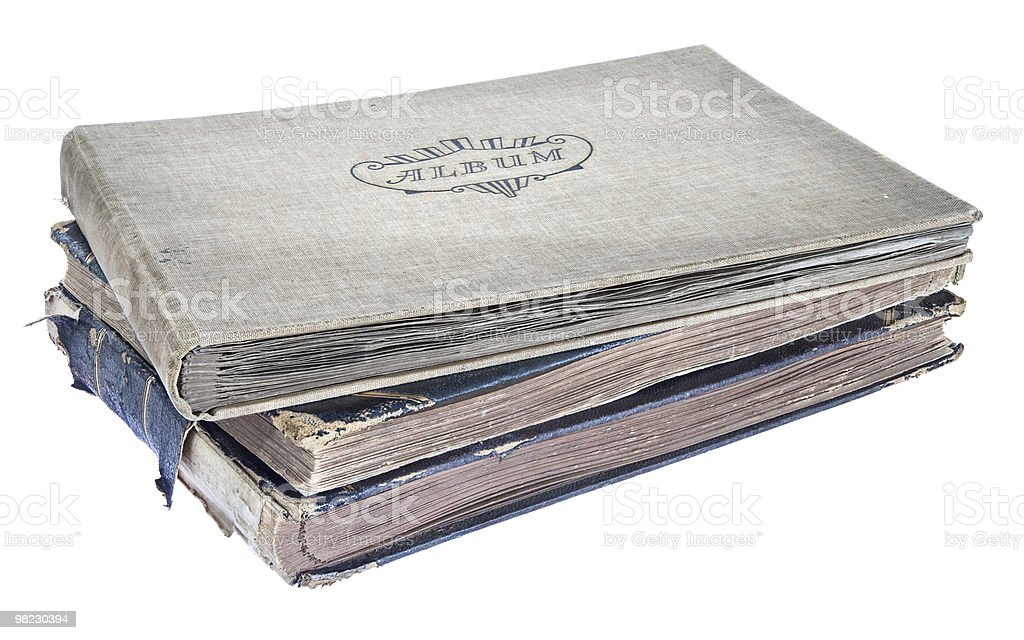 Pile of old photograph albums royalty-free stock photo