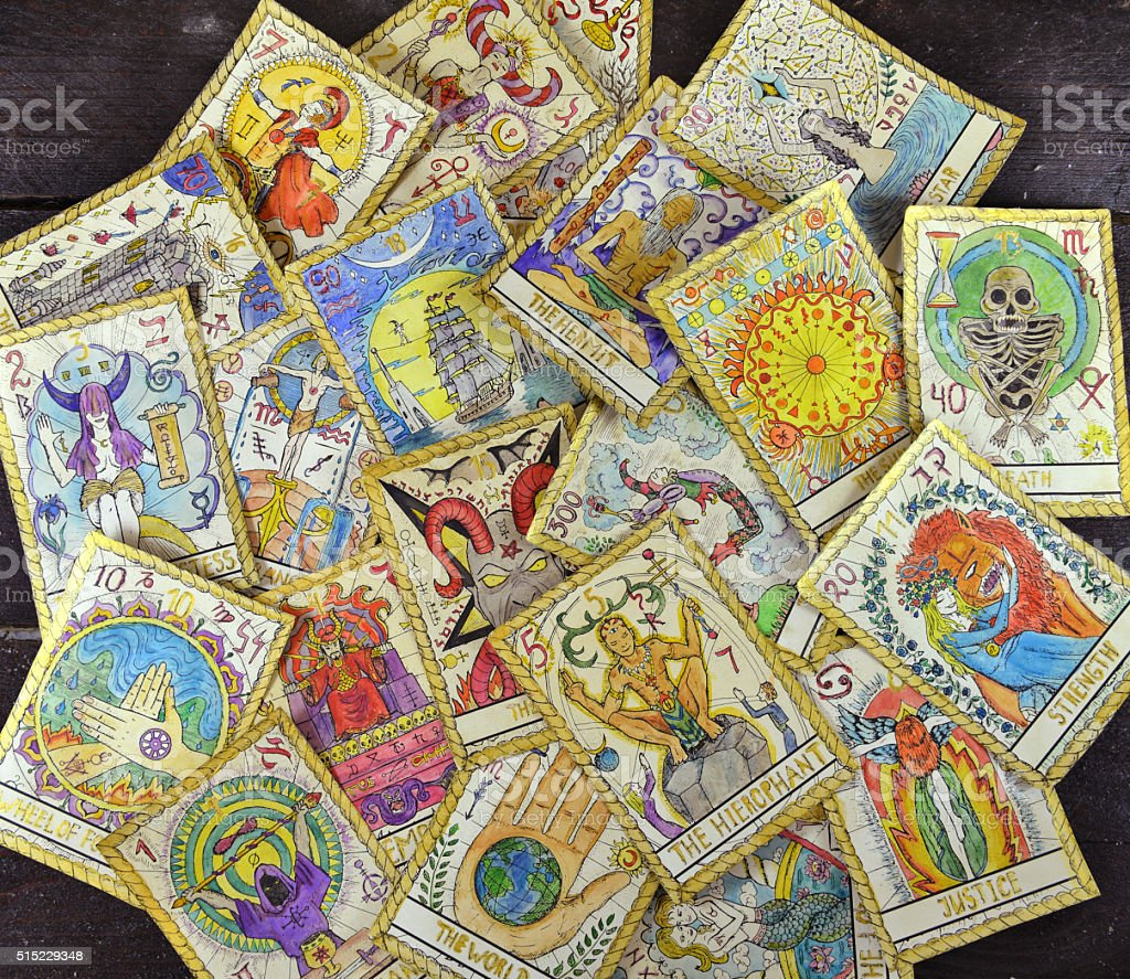 Pile of old tarot cards, top view stock photo